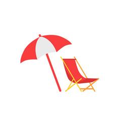 Umbrella and deck chair set vector