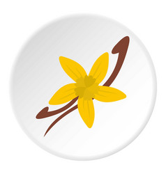 Vanilla pods and flower icon circle vector