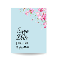 Wedding invitation spring cherry flowers vector