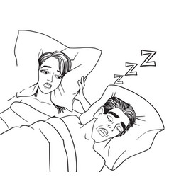 Woman covering ears while man snoring in bed vector