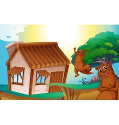 Wooden house and otters vector
