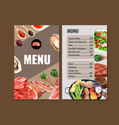 World food day menu design with meat mussels vector