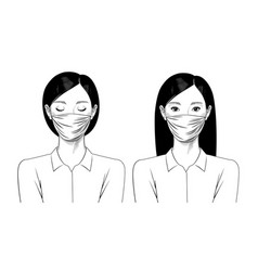 young chinese girl with beauty mask vector image