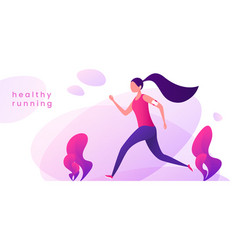 young woman runs in the park healthy lifestyle vector image