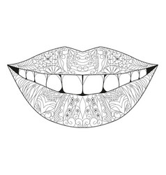 Zentangle stylized smile for coloring hand drawn vector