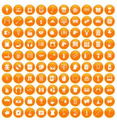 100 leisure icons set orange vector