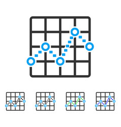 Dotted line grid plot flat icon vector