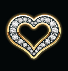 heart in diamonds vector image vector image