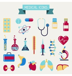 Medical and health care icons set vector image vector image