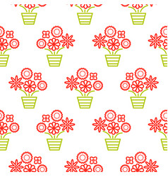 outline red and green flowers in pots seamless vector image vector image