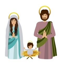 sacred family with baby jesus kneel vector image