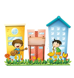 Two musicians near an empty wooden signboard vector image vector image