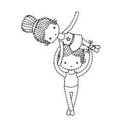 dotted shape couple dancing ballet with elegance vector image