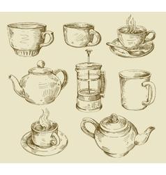 hand drawn kitchen set vector image vector image