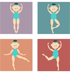 set of colored icons cartoon girl in a bathing vector image