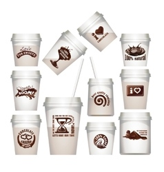 Set plastic cups with chocolate labels vector