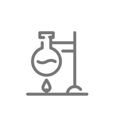 simple chemical reaction line icon flask over vector image