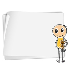 A boy holding a teddy bear beside a white paper vector image vector image