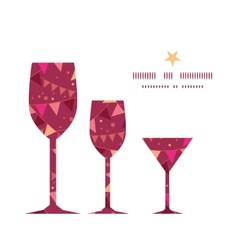 Christmas decorations flags three wine glasses vector