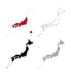 Japan country black silhouette and with flag on vector image vector image