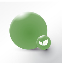 leaf icon on green circle background vector image