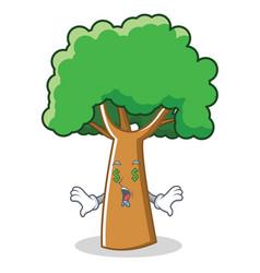 money eye tree character cartoon style vector image