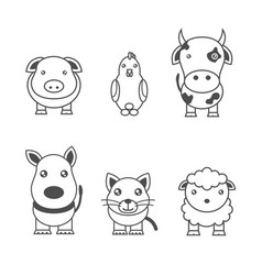 monochrome of animals vector image