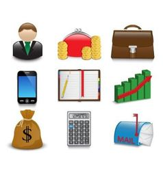 Set of bright business and financial icons vector image