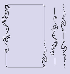 set of ornate line art frames and borders vector image