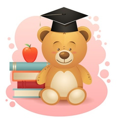 Back to school cute teddy bear toy vector image