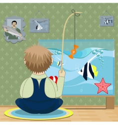 boy fisherman vector image