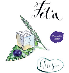 Delicious sliced greek feta cheese with olive vector