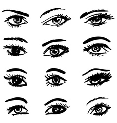 hand drawn eyes collection vector image vector image