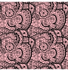 Lace black seamless mesh pattern vector image