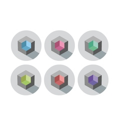Set of isometric cubes with different color inside vector image