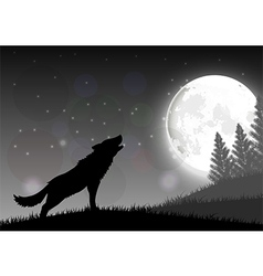 Silhouette of a wolf standing on a hill vector image vector image