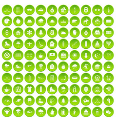 100 winter holidays icons set green circle vector