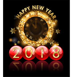 2018 new year golden clock and letters in vector