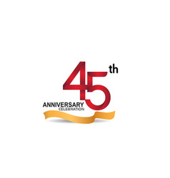 45 anniversary design logotype red color vector