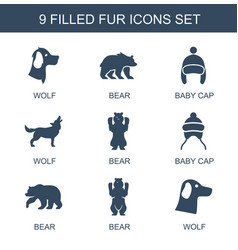 9 fur icons vector