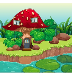 A red wooden mushroom house vector