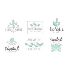 alternative medicine logo design set herbal vector image