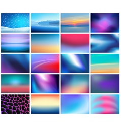 Big set 20 abstract horizontal wide blurred vector