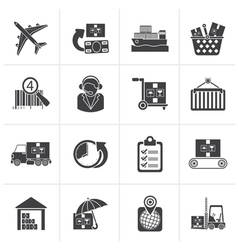 Black Cargo logistic and shipping icons vector