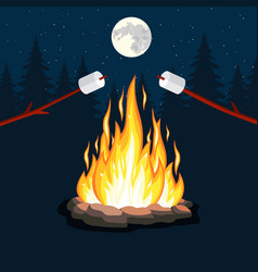 bonfire with marshmallow stone vector image
