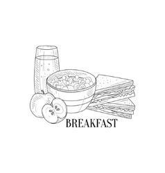 Breakfast With Porridge Sandwich And Juice Hand vector image