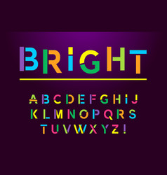Bright modern alphabet font capital letter color vector