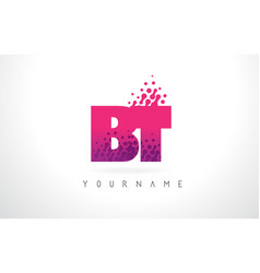 Bt b t letter logo with pink purple color and vector