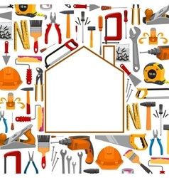 Building and repair work tools poster vector