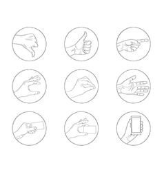 business hand gestures contour icon vector image
